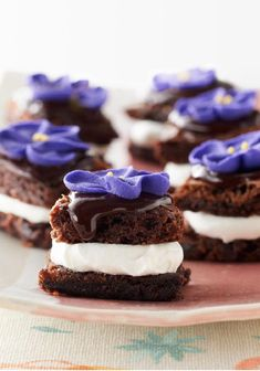 """Tea Party """"Petit Fours"""" – Guests will feel like they're enjoying high tea at a swank hotel. No one has to know these brownie minis filled with luscious Cool Whip were ready in minutes."""