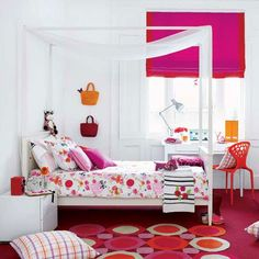 Girls Bedroom ~ Pink is the obvious choise for a girl, but to prevent it becoming too sugary use a mix of patterns in vibrant shades of raspberry, red and orange. Temper them with white walls and furniture to keep the look fresh and contemporary for girls aged 8 to 12.
