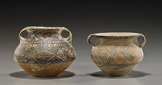 """Two Chinese Neolithic Painted Pottery Jars: each of somewhat stout globular form with two loop handles and both with various geometric motifs (typical wear); L: 6"""" (larger)"""