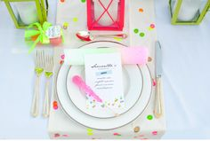 "Neon Bridal Shower ""He Makes My Heart Glow"" -  Placesetting-"
