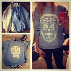 DIY Skull Sweatshirt using freezer paper