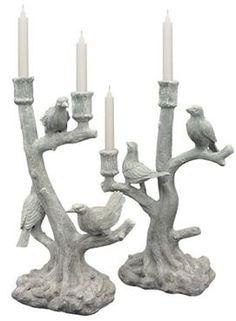 Pair Faux Bois Bird Candlesticks <3 #safavieh