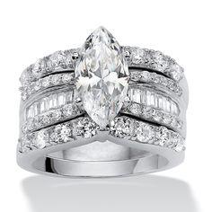 Palm Beach Jewelry 3 Piece 4.55 TCW Marquise-Cut Cubic Zirconia Bridal Ring Set in over Sterling Sil