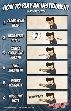 Complete your band room with this poster that details each step of how to play correctly. Or at least very close to correctly. The poster is professionally printed on high-quality matte-finish paper a