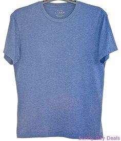 J.Crew Mens T-Shirt Crew Short Sleeve Heathered Washed 53602 Tagless Blue M   #JCrew #BasicTee