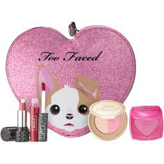 Too Faced x Kat Von D Better Together Cheek Lip Makeup Bag Set (160 RON) ❤ liked on Polyvore featuring beauty products, gift sets & kits, makeup, make up purse, make up bag, makeup purse, toiletry kits and wash bag