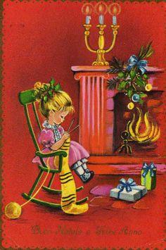 Christmas fireside knitting.