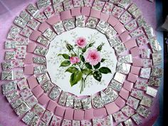 12 inch Vintage Pink Roses Bouquet Floral Art Designer Mosaic Tile Set Tesserae Handmade Dinnerware Plates Dishes Flowered Mosaics
