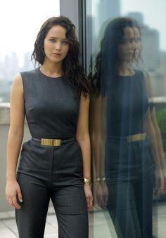 Jennifer Lawrence at the Toronto International Film Festival. I like her dark hair and this pantsuit.