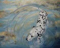 Dalmatian In The Sky - original oil dog painting, painting by artist Anne Zoutsos