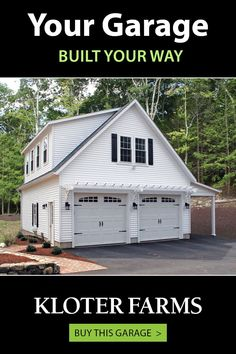 This custom 24x32 Elite garage is the envy of the neighborhood! A few standout features include: pergola accent, carriage style overhead doors and 9' lean-to. Let us help you design your building - we'll walk you through every step. #kloterfarms #2cargarage #garage Shed Design, Garage Design, Your Design, Lean To, Built In Storage, Garages, Envy, Outdoor Living, The Neighbourhood