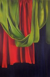 Drapery, Helen Zouvelekis, oil on canvas - I am always looking for color schemes in paintings, thanks to @Barbara Fugate. Complementary color, or even a secondary triadic, perhaps? #drapery #painting #oil