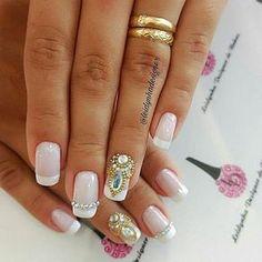 Unhas Bride Nails, Wedding Nails, Mani Pedi, Manicure And Pedicure, Nail Art Videos, Super Nails, Nail Art Hacks, Creative Nails, Perfect Nails