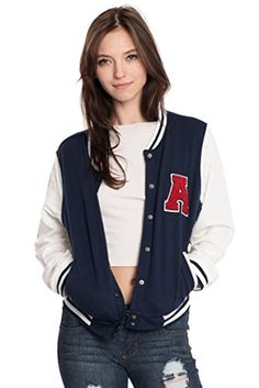 Women's Casual Jackets - Womens Active Fleece Letterman Slim Fit Baseball Varsity Jackets * Check out this great product.