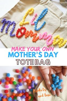 DIY Mother's Day Tote Bag by Trinkets and Love, a diy and lifestyle blog based out of South Bend, IN. trinketsandlove.com#diy#mothersday#mothersdaydiy#mothersdaygift#totebagdiy#mothersdaycraft Crafts For Teens To Make, Crafts To Sell, Easy Crafts, Diy And Crafts, Pom Pom Tutorial, Diy Tote Bag, Mother's Day Diy, Dollar Store Crafts, Spring Crafts