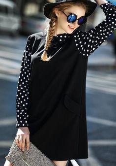 Black Patchwork Polka Dot Printed Plus Size Peter Pan Collar Mini Dress