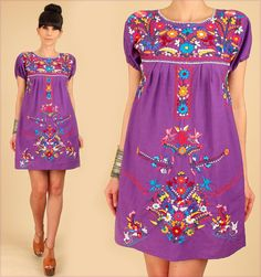 a4bf10ed74 ViNtAgE 70 s Mexican EMBROIDERED Purple MiNi by hellhoundvintage Ponerse