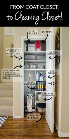 cleaning closet organization Gather all your cleaning and interior home upkeep supplies into ONE location, like a small coat closet. Coats can be moved to coat hooks/racks in the entry to free up this premium storage space. Small Coat Closet, Utility Closet, Organize Coat Closet, Small Pantry Closet, Front Closet, Walk In Closet Small, Small Closet Space, Simple Closet, Small Closets
