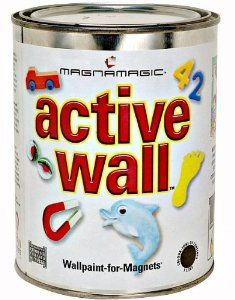 MagnaMagic/Active Wall Magnetic Wall Paint -  When applied, this product gives the surface metallic properties that a magnet will stick to - just like a refrigerator door is not a magnet itself, but magnets will stick to it because it is metal. Pale gray finish and easy to topcoat for vivid color. Does not interfere with electronics.