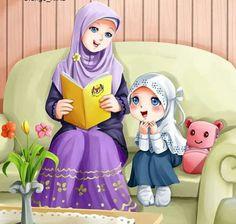 Bercerita bersama bunda Muslim Family, Muslim Couples, Muslim Girls, Muslim Pictures, Islamic Pictures, Hijab Drawing, Islamic Cartoon, Anime Muslim, Hijab Cartoon