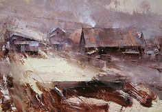 At the End of the Village by Tibor Nagy Oil on wood panel ~ 13,7 x 19,7