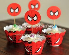 Most popular cartoon spider man printed cupcake decorating tools Cupcake Wrapper and Topper for kid's birthday party baby shower