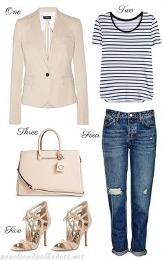 FASHION // Nude Monochrome // Nude Blazer // Striped T-shirt // Nude Tote // Cuffed Jeans // Nude Heels   On Pearls and Polkadots...