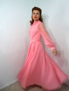 Vintage 1950s Chiffon Dress Pink Long Sleeve by KMalinkaVintage