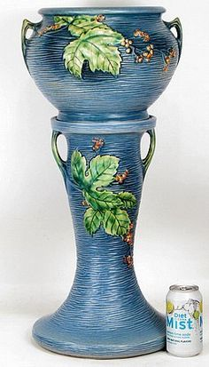 ROSEVILLE 1948 Rare Blue BUSHBERRY JARDINIERE and PEDESTAL Art Deco Fine Pottery