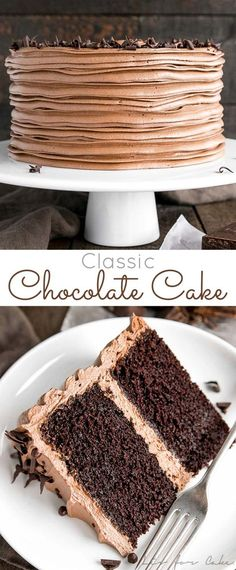 classic chocolate cake pairs moist chocolate cake layers with a rich and si., This classic chocolate cake pairs moist chocolate cake layers with a rich and si.,This classic chocolate cake pairs moist chocolate cake layers with a rich and si. Only Chocolate Cake Recipe, Best Chocolate, Chocolate Desserts, Chocolate Chip Cookies, Cake Chocolate, Chocolate Buttercream Cake, Nutella Frosting, Buttermilk Chocolate Cake, Chocolate Smoothies