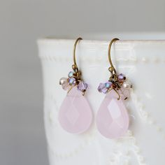 Pink Agate Stone Drop Earrings Swarovski Chrystal by YuniDesigns