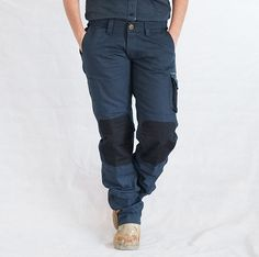 Workwear for women - Strong heavy duty low rise navy work pants - eve workwear Work Clothes, Work Pants, Permaculture, Ethical Fashion, Workwear, Parachute Pants, Eve, Curvy, Black Jeans