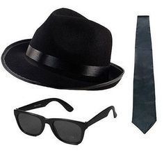 c1bf3a3f064 Blues brothers hat sunglasses black tie fancy dress costume stag party  gangster