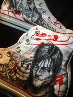 Walking dead shoes Etsy listing at https://www.etsy.com/listing/218744486/custom-hand-drawn-the-walking-dead-shoes