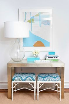 West Elm console & turquoise tablescape