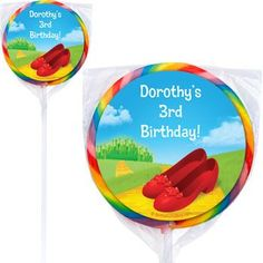 Ruby Slippers Personalized Lollipops - Ruby Slippers Custom Swirl Pops $12.99 for 12 birthday in a box
