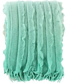 Monte Mint Ruffle Knit Blanket