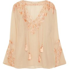 Love Sam Embroidered cotton-blend blouse found on Polyvore