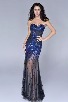 2014 Beaded And Fitted Bodice Sweetheart Column Prom Dress With Tulle Skirt Black