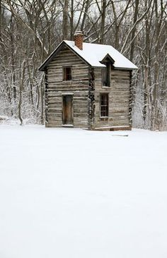 Log cabin in the snow....