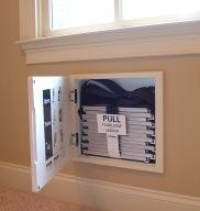 We keep ours in closets but I like this idea! Fire Escape Ladder : built in between the studs of every room second level or higher room.