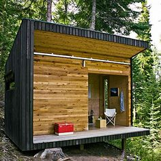 modern shed  found in Sunset magazine..this is in Oregon...great for side of a mountain
