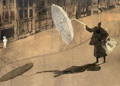 Illustrations for 'De vrouw en het jongetje' - Book Artists and Their Illustrations Art And Illustration, Illustrations And Posters, Umbrella Art, Klimt, Book Cover Design, Book Art, Fine Art, Drawings, Umbrellas