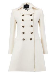 Military Wool Coat in Cream - Hobbs