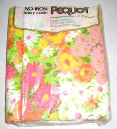 vintage pequot double flat sheet new bright floral flowers retro made in usa