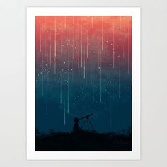 Buy Meteor rain Art Print by budikwan. Worldwide shipping available at Society6.com. Just one of millions of high quality products available.