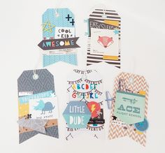 Crate Paper 'Cool Kid' Set of 5 Handmade Embellished Tags - For Scrapbooking…