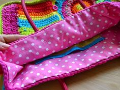 How to make a lining to crocheted bag