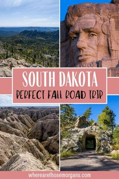 The best time to visit South Dakota is Fall for beautiful foliage colors throughout the Black Hills National Forest, Custer State Park and around Mount Rushmore. Badlands National Park is included in this epic 4 day itinerary but doesn't have many colors other than stone, it is a 'bad land' after all! South Dakota Road Trip | South Dakota Itinerary | Things to do in South Dakota | Best Places to Visit South Dakota #southdakota #usaroadtrips #badlands #custerstatepark #blackelkpeak… Cool Places To Visit, Places To Travel, Places To Go, States In America, 50 States, South Dakota Travel, European Road Trip, Fall Vacations, Custer State Park