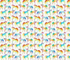 Rainbow Watercolour Unicorns fabric by emmaallardsmith on Spoonflower - custom fabric